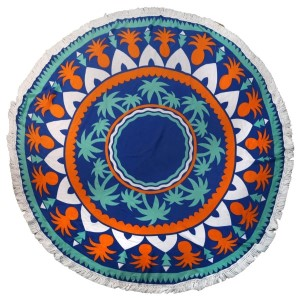 "Navy blue roundie with a pineapple print. This roundie can be used on the beach, as wall decor, or a rug. Approximately 66"" in diameter. 100% viscose."
