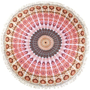 "Coral roundie with a Bohemian print. This roundie can be used on the beach, as wall decor, or a rug. Approximately 66"" in diameter. 100% viscose."