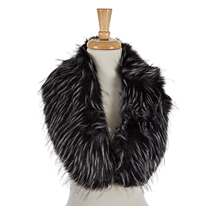 Black faux fur collar with a front hook closure, can be worn over jackets and vests. 100% polyester.