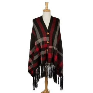 """Black and red, plaid shawl with front wooden buttons. This can be worn unbuttoned as a scarf as well. 100% acrylic. One size fits most. Measures 30"""" x 72"""" in size."""