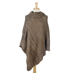 Brown and beige knit poncho with a cowl neckline. 100% acrylic. One size fits most.