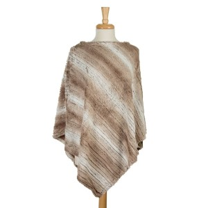 Cream and white striped, faux fur poncho. 100% polyester. One size fits most.
