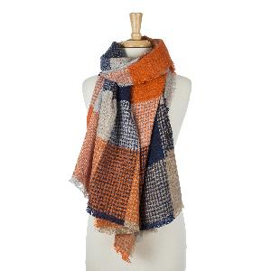"Orange, navy blue and beige patchwork print scarf with frayed edges. 100% acrylic. Measures 33"" x 80"" in size."