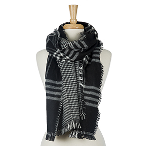 """Two sided, black and white plaid open scarf with houndstooth on the inside. 100% acrylic. Measures 20"""" x 80"""" in size."""