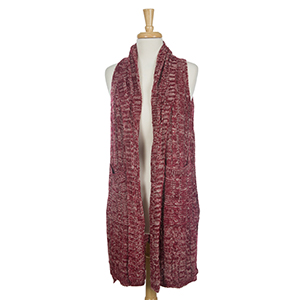 Crimson knit vest with two front pockets. 100% acrylic. One size fits most.