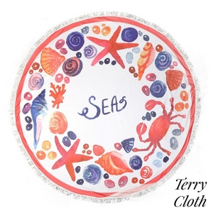 "Sea life printed terry cloth roundie beach towel with frayed edges. 70% polyester and 30% cotton. Approximately 55"" in diameter."