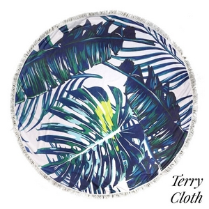 """Palm tree printed terry cloth roundie beach towel with frayed edges. 70% polyester and 30% cotton. Approximately 55"""" in diameter."""