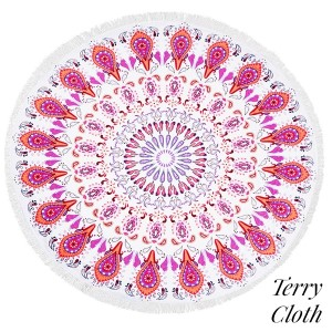 """Pink bohemian printed terry cloth roundie beach towel with frayed edges. 100% cotton. Approximately 60"""" in diameter."""