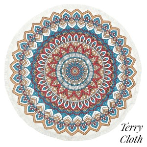 """Geometric printed terry cloth roundie beach towel with frayed edges. 100% cotton. Approximately 60"""" in diameter."""