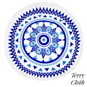 """Blue and white abract printed terry cloth roundie beach towel with frayed edges. 100% cotton. Approximately 60"""" in diameter."""