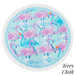 """Flamingo printed terry cloth roundie beach towel with frayed edges. 100% cotton. Approximately 60"""" in diameter."""