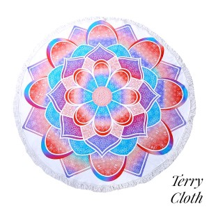 """Pink, turquoise, and purple abstract printed terry cloth roundie beach towel with frayed edges. 100% cotton. Approximately 60"""" in diameter."""