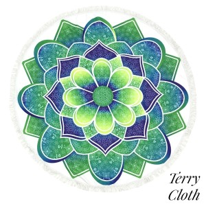 """Green and blue abstract printed terry cloth roundie beach towel with frayed edges. 100% cotton. Approximately 60"""" in diameter."""