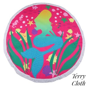 """Pink mermaid printed terry cloth roundie beach towel with frayed edges. 100% cotton. Approximately 60"""" in diameter."""