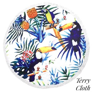 """Toucan and palm tree leaf printed terry cloth roundie beach towel with frayed edges. 100% cotton. Approximately 60"""" in diameter."""