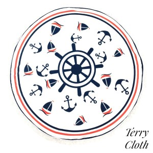 """Nautical printed terry cloth roundie beach towel with frayed edges. 100% cotton. Approximately 60"""" in diameter."""
