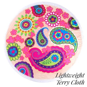 """Lightweight paisley printed terry cloth roundie beach towel with frayed edges. 100% cotton. Approximately 60"""" in diameter."""