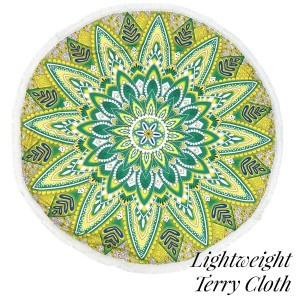 """Lightweight green and yellow abstract printed terry cloth roundie beach towel with frayed edges. 100% cotton. Approximately 60"""" in diameter."""