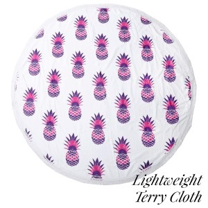 """Lightweight pink pineapple printed terry cloth roundie beach towel with frayed edges. 100% cotton. Approximately 60"""" in diameter."""