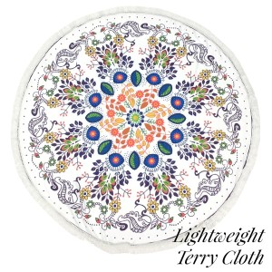 """Lightweight multicolored floral printed terry cloth roundie beach towel with frayed edges. 100% cotton. Approximately 60"""" in diameter."""
