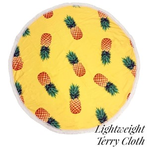 "Lightweight yellow, pineapple printed terry cloth roundie beach towel with frayed edges. 100% cotton. Approximately 60"" in diameter."