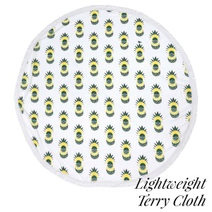 "Lightweight pineapple printed terry cloth roundie beach towel with frayed edges. 100% cotton. Approximately 60"" in diameter."