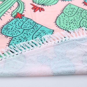 """Lightweight """"You can't sit on us"""" cactus printed terry cloth roundie beach towel with frayed edges. 100% cotton. Approximately 60"""" in diameter."""