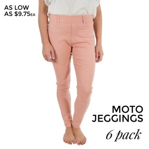 Blush pink Moto Jeggings with faux front pockets and real back pockets. 65% polyester, 30% cotton, and 5% spandex. Sold in packs of six - three small/medium and three large/extra large.