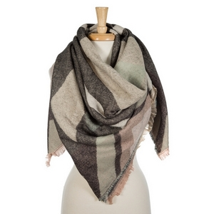 """Mauve, gray, and black printed blanket scarf with frayed edges. 100% acrylic. Measures 56"""" x 56"""" in size."""