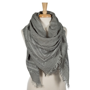"""Light and dark gray lightweight blanket scarf. 55% viscose and 45% acrylic. Measures 56"""" x 56"""" in size."""