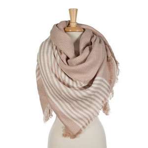 """Blush pink and white striped blanket scarf. 100% acrylic. Measures 56"""" x 56"""" in size."""