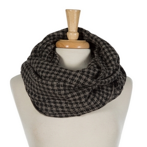"Black and gray houndstooth infinity scarf. 100% acrylic. Measures 36"" x 21"" in size."