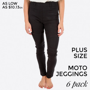 "Black Moto Jeggings with faux front pockets and real back pockets. 65% polyester, 30% cotton, and 5% spandex. 30"" inseam. Sold in packs of six - two 1X, two 2X, and two 3X. Approximate fit in U.S. sizes: 1X 16-18, 2X 20-22, 3X 24-26."