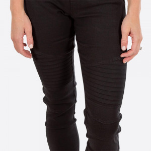 "Black Moto Jeggings with faux front pockets and real back pockets. 65% polyester, 30% cotton, and 5% spandex. 30"" inseam. Sold in packs of six - two 1X, two 2X, and two 3X. Approximate fit in U.S. sizes: 1X 16-18, 2X 20-22, 3X 24-26. These are slim fit jeggings, so we recommend your customers choose a size up."