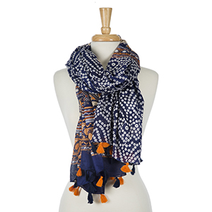 "Orange and navy blue, printed lightweight, open scarf. 100% viscose. Measures 45"" x 80"" in size. Made in India."