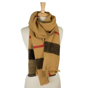 "Beige, heavyweight scarf with a large plaid print. 100% acrylic. Measures 26"" x 76"" in size."