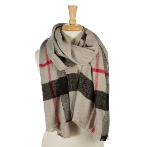 "Gray, heavyweight scarf with a large plaid print. 100% acrylic. Measures 26"" x 76"" in size."