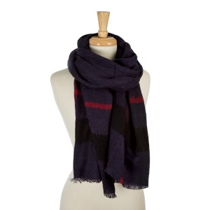 "Navy blue, heavyweight scarf with a large plaid print. 100% acrylic. Measures 26"" x 76"" in size."