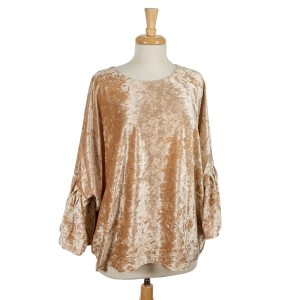 Gold, crushed velvet tunic top with an oversized fit and bell sleeves. 95% polyester and 5% spandex. One size fits most.