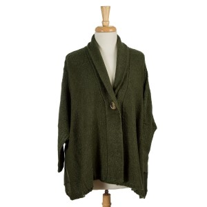 Olive green knit sweater with an oversized, dolman fit and a front wooden button. 100% acrylic. One size fits most.