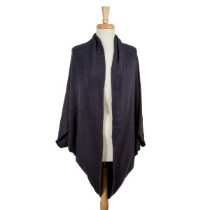 Charcoal gray, oversized, knit cocoon shawl. 100% acrylic. One size fits most.