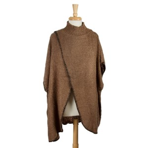 Brown turtleneck sweater, poncho with an open front. 100% acrylic. One size fits most.