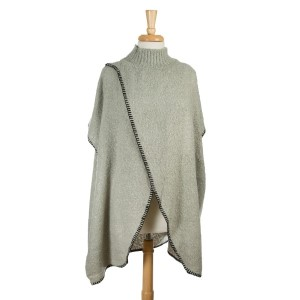 Gray turtleneck sweater, poncho with an open front. 100% acrylic. One size fits most.