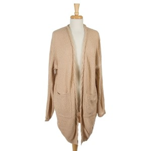 Beige knit cardigan with long sleeves and two front pockets. 100% acrylic. One size fits most.