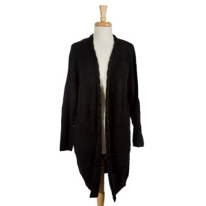 Black knit cardigan with long sleeves and two front pockets. 100% acrylic. One size fits most.
