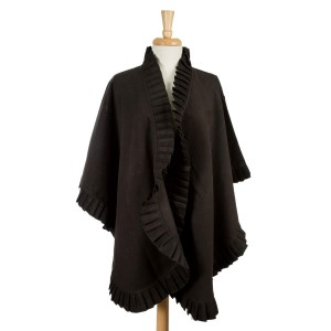 Black, heavyweight wrap with an accordion pleated ruffle. 100% acrylic. One size fits most.