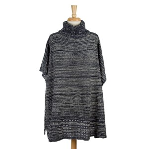 Navy blue and white knit, turtleneck poncho with wooden buttons on the sides. 100% acrylic. One size fits most.