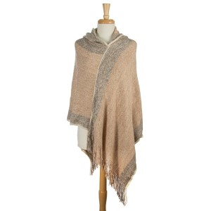 Gray and beige, turtleneck poncho with fringe detailing. 100% acrylic. One size fits most.