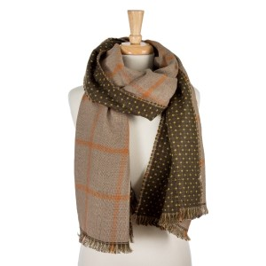 """Beige and rust, heavyweight open scarf with a plaid print on one side and polka dots on the other. 100% acrylic. Measures 27"""" x 80"""" in size."""