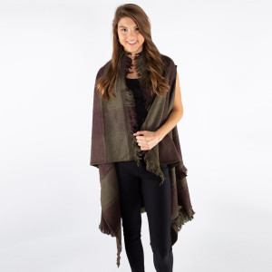 Olive green and brown checked vest with frayed edges. 100% acrylic. One size fits most.